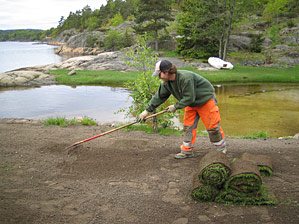 Rak overflaten før utlegging Stein, kvist og ugress fjernes for at røttene skal få best mulig grobunn. Pass på å få tilstrekkelig fall bort fra husvegger o.l.